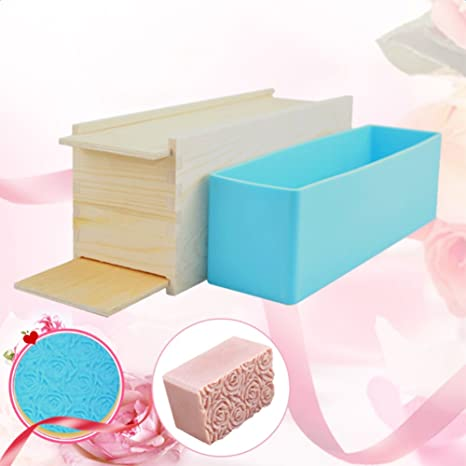 PROKTH Molde de Silicona con Caja de Madera, jabón de Proceso frío, 1 kg