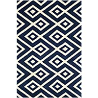 Safavieh Chatham Collection CHT742C Handmade Dark Blue and Ivory Premium Wool Area Rug (5 x 8)