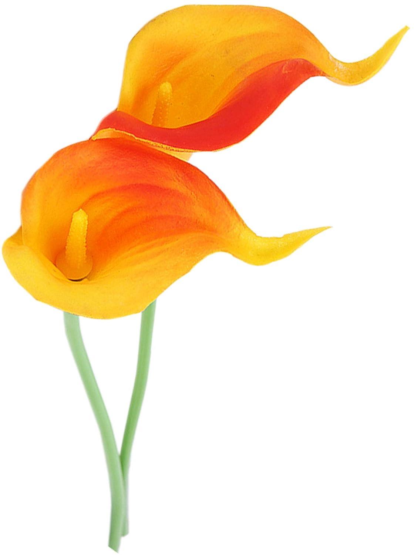 WEEGCN 造花4束 プラスチック 緑 アウトドア UV耐性 花柄 造花 プラスチック ブーケ ブッシュ プラント 結婚式 自宅 オフィス パーティー テラス 庭の装飾に オレンジ B07GVFG267 オレンジ