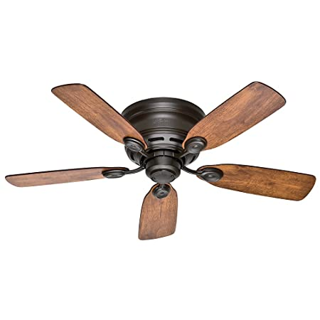 Hunter Indoor Low Profile IV Ceiling Fan, with pull chain control – 42 inch, New Bronze, 51061