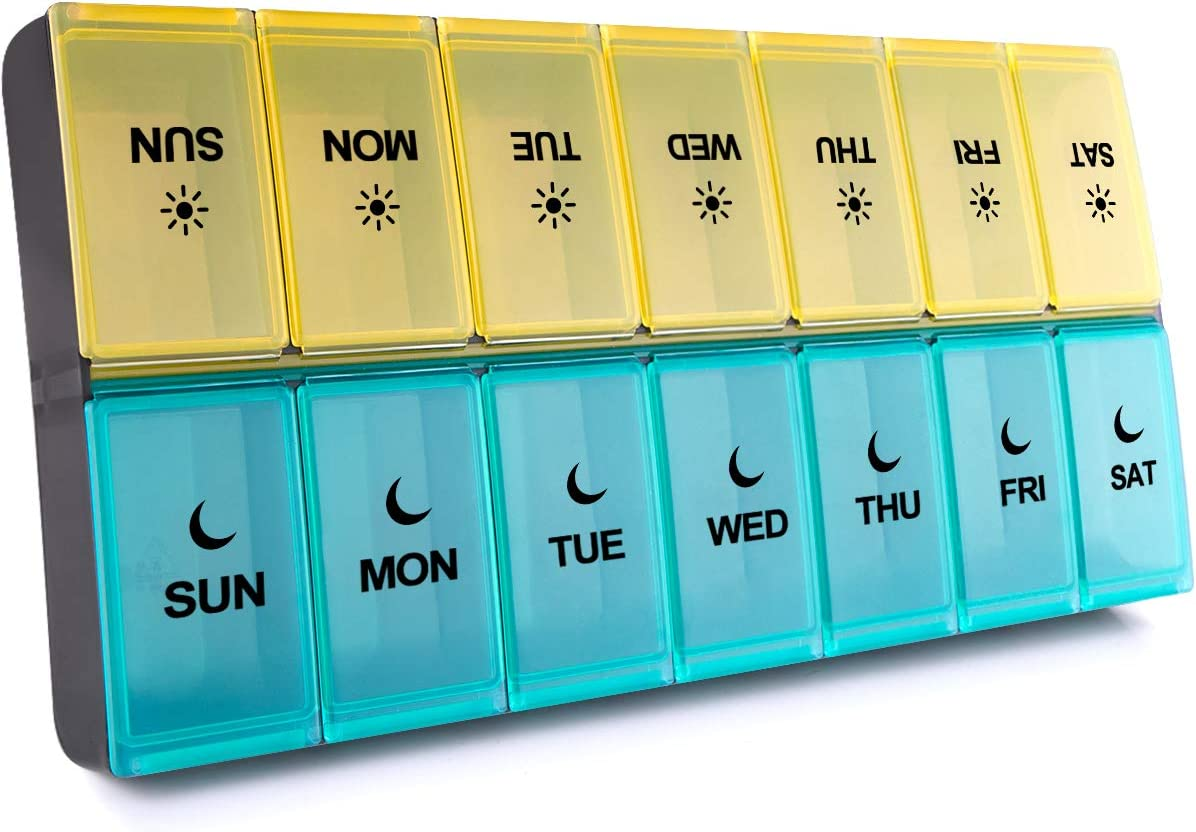 BUG HULL Extra Large Pill Organizer 2 Times a Day, XL Weekly Pill Box Twice a Day, 7 Day AM PM Pill Case, Oversized Daily Medicine Organizer for Vitamins, Fish Oils or Supplement