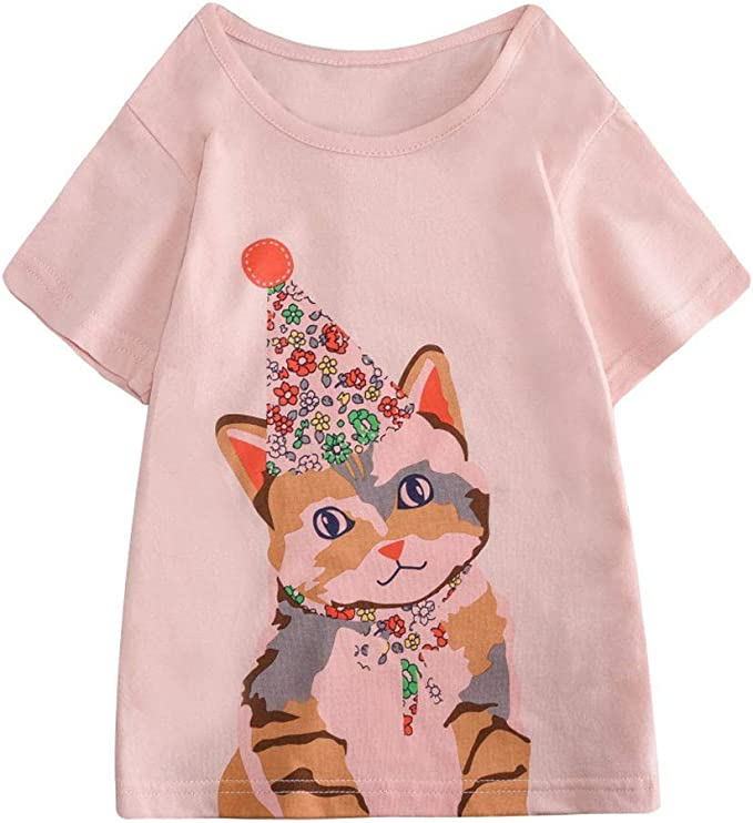 TIANRUN Boys Girls Clothes Cartoon Rabbit//Cat//Butterfly//Sailboat Print Sports Short Sleeve Tops T-Shirt Blouse Toddler Kids