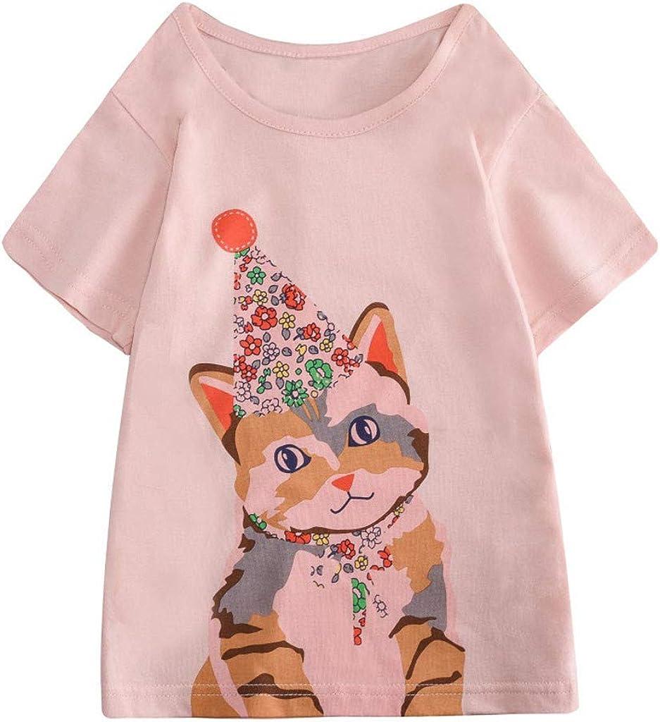 TIANRUN Boys Girls Clothes Cartoon Rabbit//Cat//Butterfly//Sailboat Print Sports Short Sleeve Tops T-Shirt Blouse Toddler Kids
