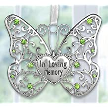 In Loving Memory Ornament - Rememberance Silver Filigree Butterfly with Engraved Heart Charm - Light Green Crystals with White Ribbon to Hang - Bereavement Gifts - Sympathy Gifts