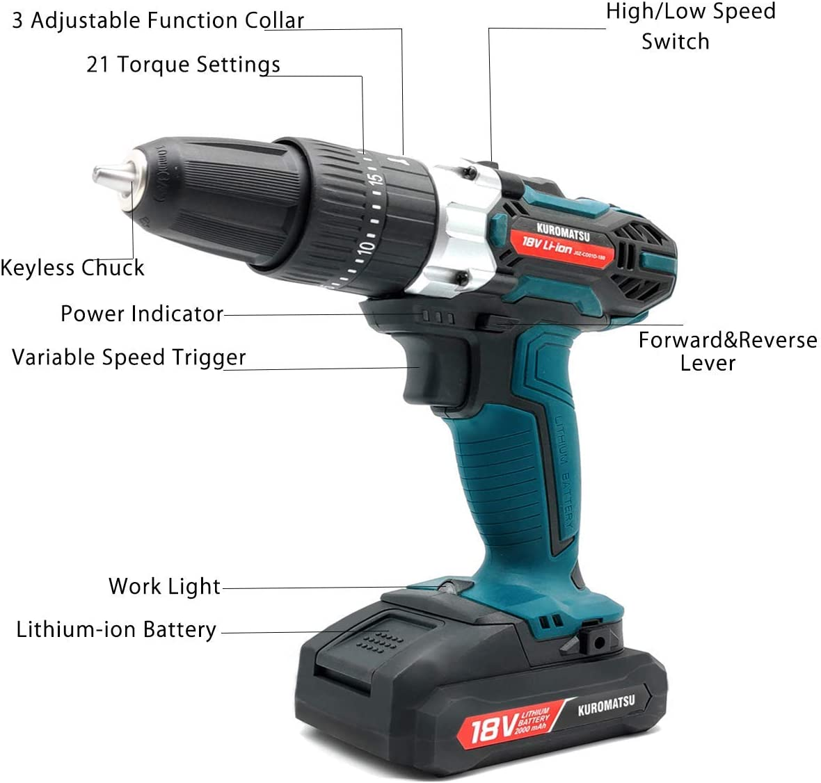 Kuromatsu Electric Drill Cordless Screwdriver Power Drill, 21 3 Torque Gears, DC18V 32N.m 2000mAh Variable Speed, LED Work Light, 34pcs Driver Bits