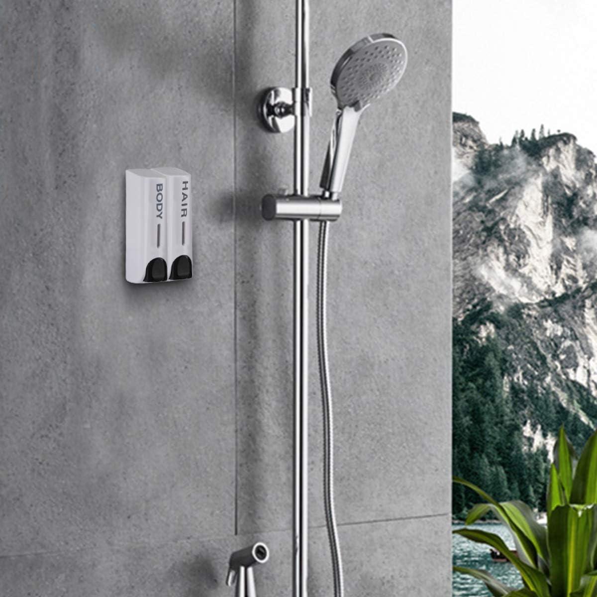 AUMIO Chamber Soap Dispenser Trio Shower Gel Shampoo Conditioner ABS Wall Mount Silver