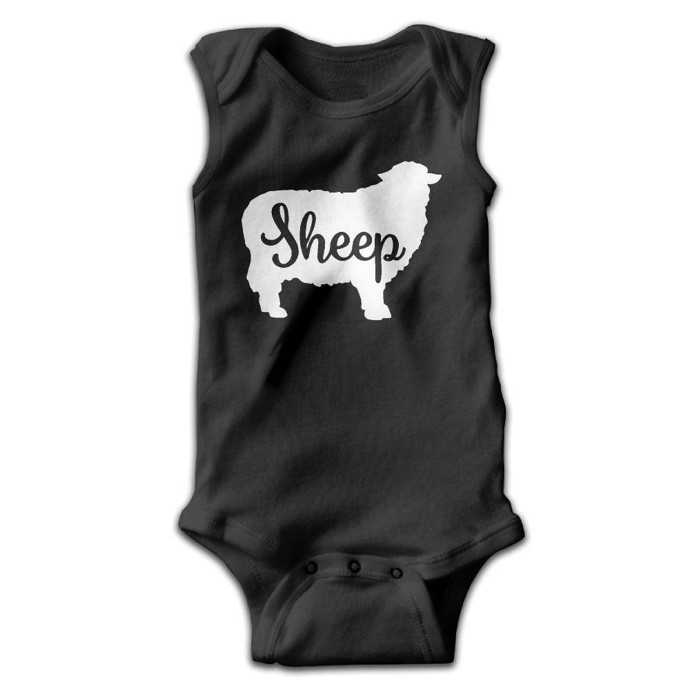 Sheep Animal Silhouette Baby Newborn Crawling Clothes Sleeveless Onesie Romper Jumpsuit Black