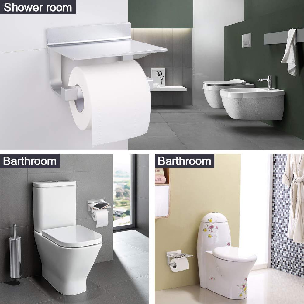 HOOMTAOOK Portarrollos de papel higi/énico Soporte para papel de ba/ño con estante para m/óviles Aluminio Organizador Inoxidable Montaje en pared sin taladro Almacenamiento para lavabos,Plateado