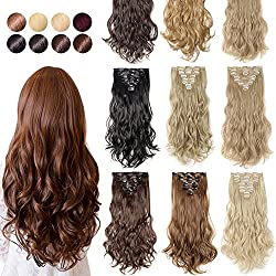 "S-noilite [Promo] 17"" Long Straight Curly Wavy Full Head Clip In Hair extension 8 Pcs 18 Clips Real Thick Heat Resistance Synthetic Hairpiece For Women Girls (Light Brown)"