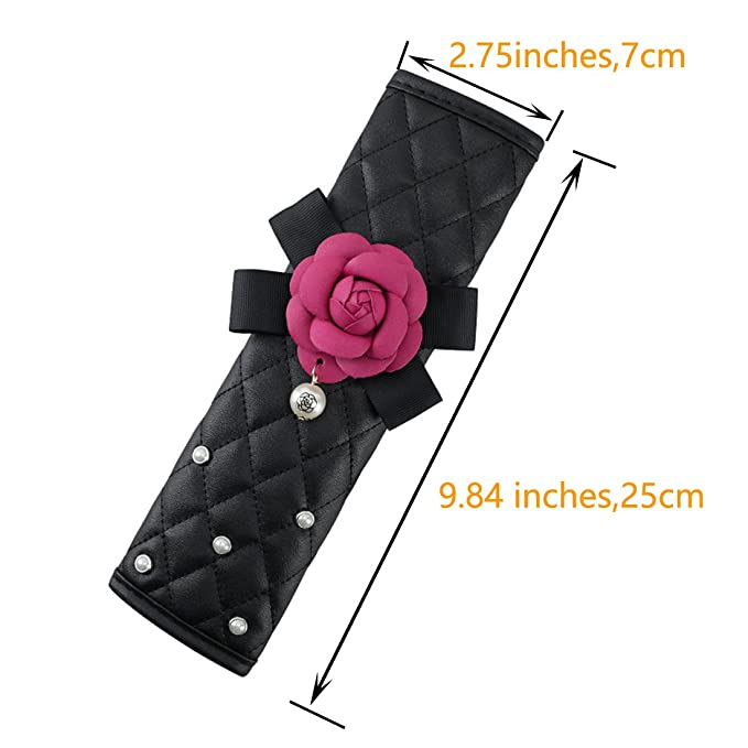 Black Wishlanlan Auto Car Seat Belt Cover Rose and Pearls Decorate Seat Shoulder Pad Cushion Strap Covers 2 Pcs One Pair