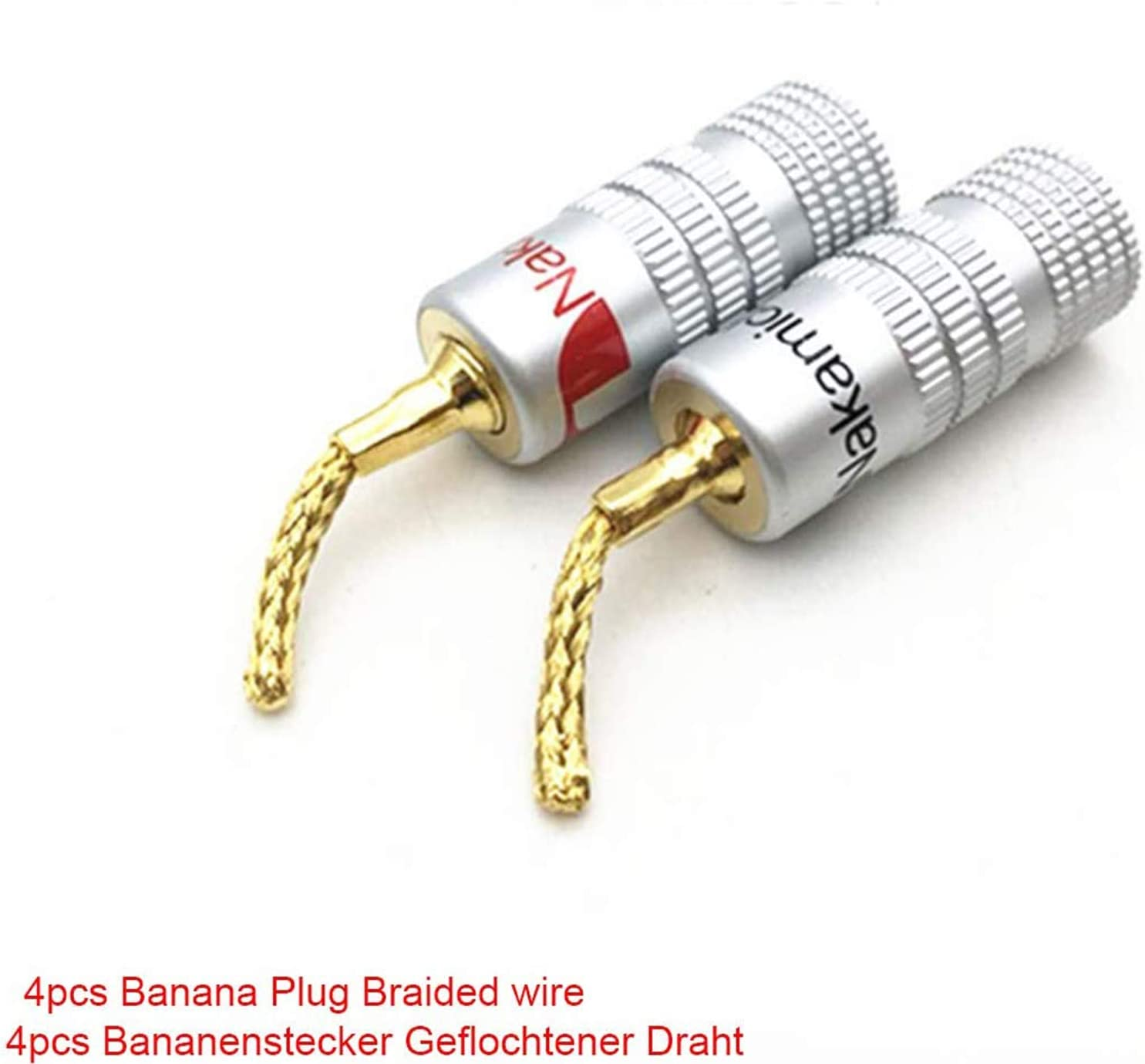 Lot de 4 connecteurs de c/âble tress/és pour haut-parleurs r/ésistant /à la corrosion connecteurs audio femelles pour c/âbles de haut-parleur fiches bananes