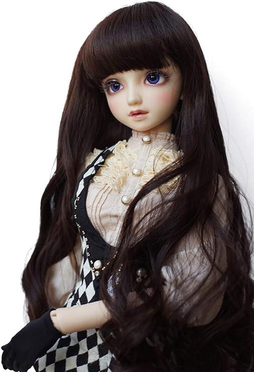 "1//6 Girl BJD SD Doll Wig Long Dollfie 6 /""Bjd Doll Wig Long Curly Coffee Free"