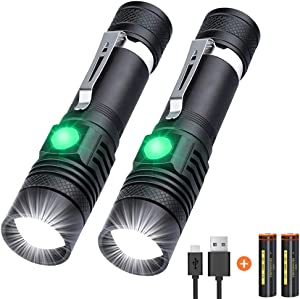 Flashlights, Tactical Flashlight USB Rechargeable (Battery Included) LED Flashlights High Lumens Waterproof Flashlights for emergencies, Camping, Hiking, Reading, Indoor and Outdoor[2 Pack]]