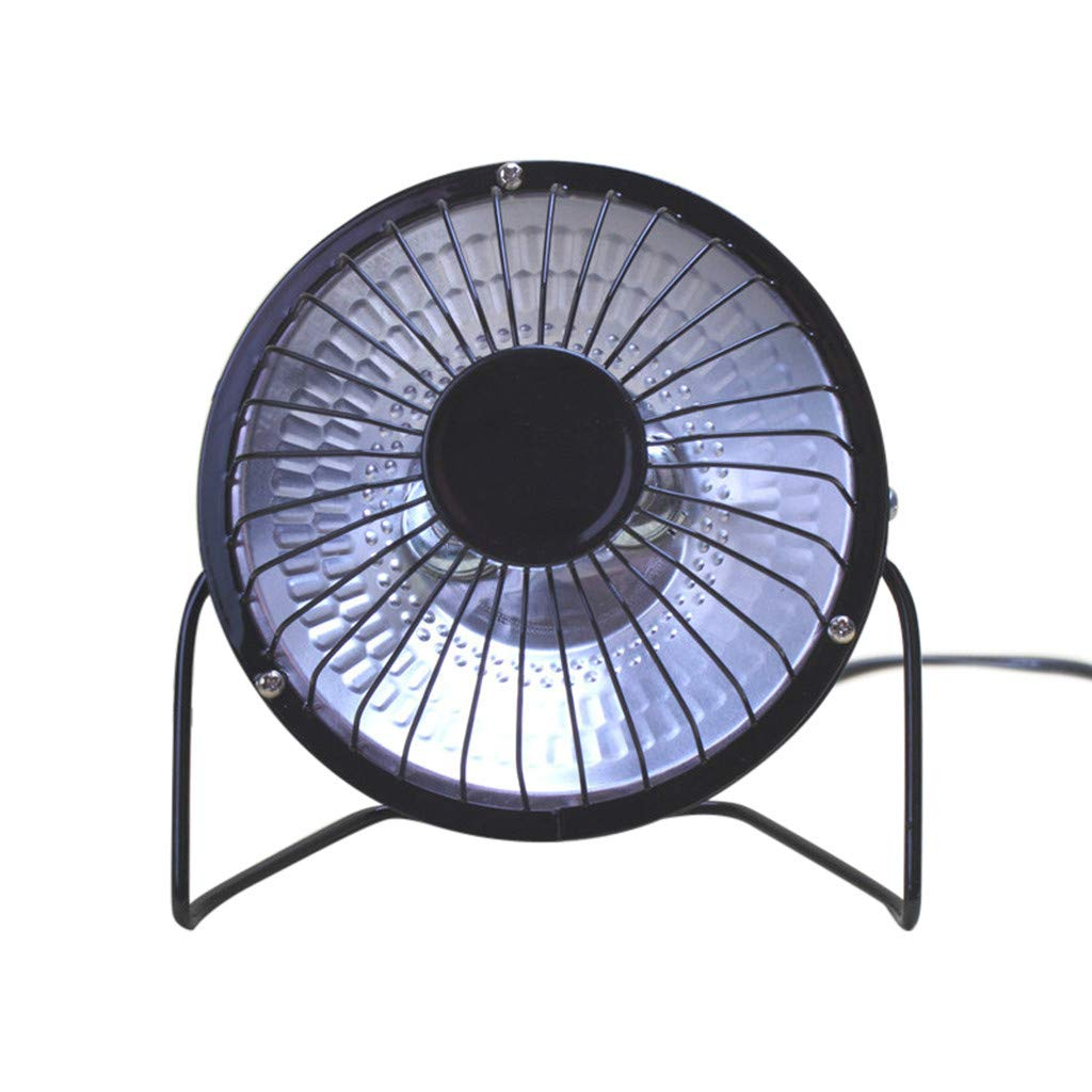 Alimao Mini Handy Heater Portable Electric Home Air Heater Warm Fan Halogen Tube 4 Inch Black