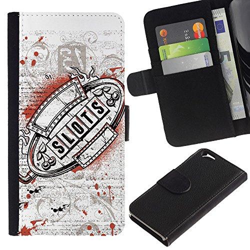 EuroCase - Apple Iphone 6 4.7 - Casino Slots Machine Grunge - Cuir PU Coverture Shell Armure Coque Coq Cas Etui Housse Case Cover