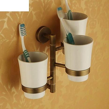 NAERFB Todo el Cobre Cepillo Giratorio portavasos/Colgando el Kit/baño/Taza de