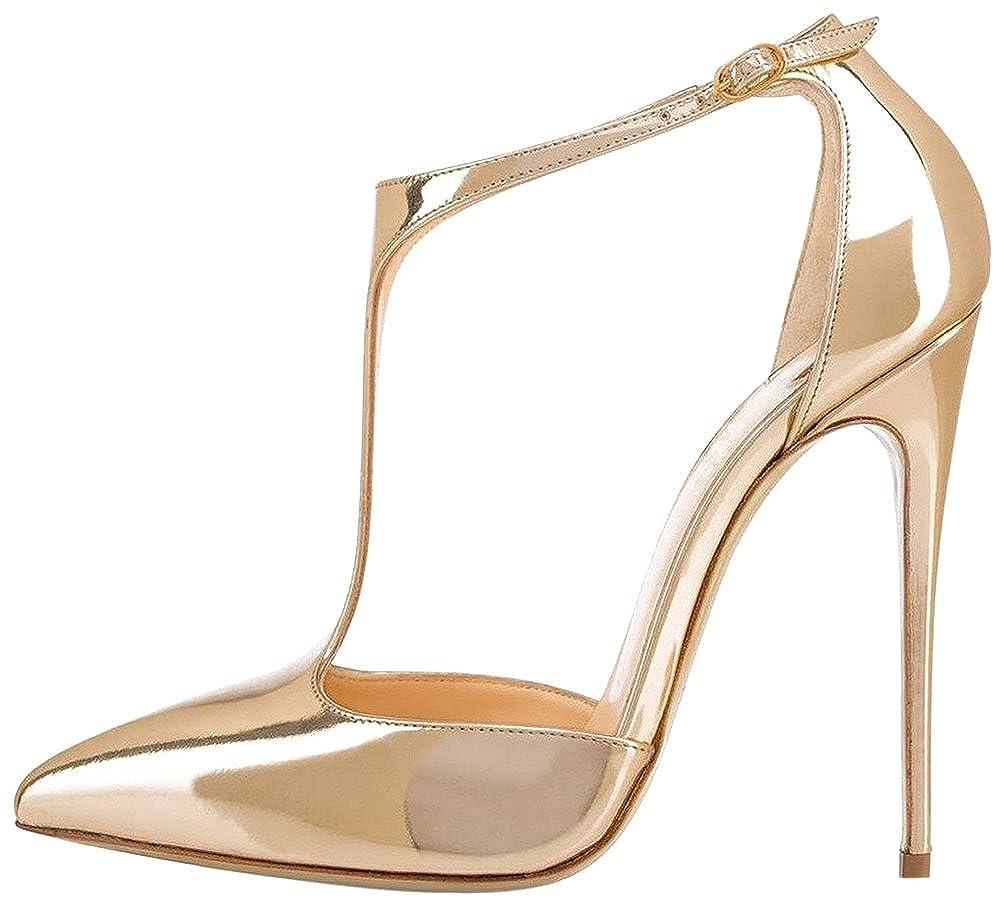 Calaier Damen Casupermarket 12CM Stiletto Schnalle Sandalen Schuhe Gold Gold Gold a10185
