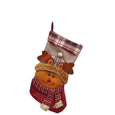 Nouvel An Bas de Noël Chaussettes Plaid Père Noël bonbons cadeau sac décoration-Elk