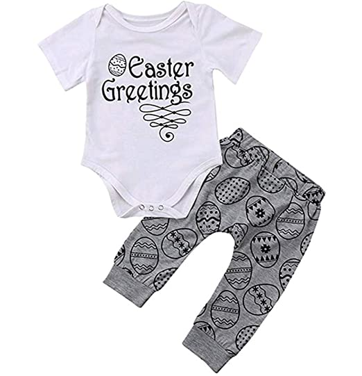 ec7122f6b0d Newborn Baby Boy Girl Romper Tops+Long Pants Kids 2PCS Outfit Set Clothes  Bodysuit Outfit