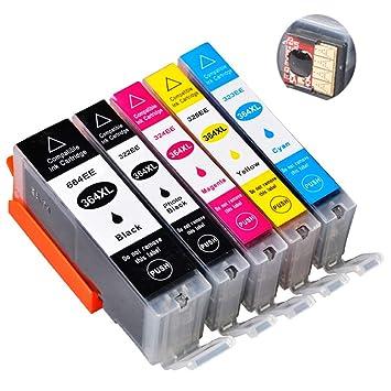 Teng® 5 x Cartucho de Tinta Recargable Completo para HP 364 364XL ...