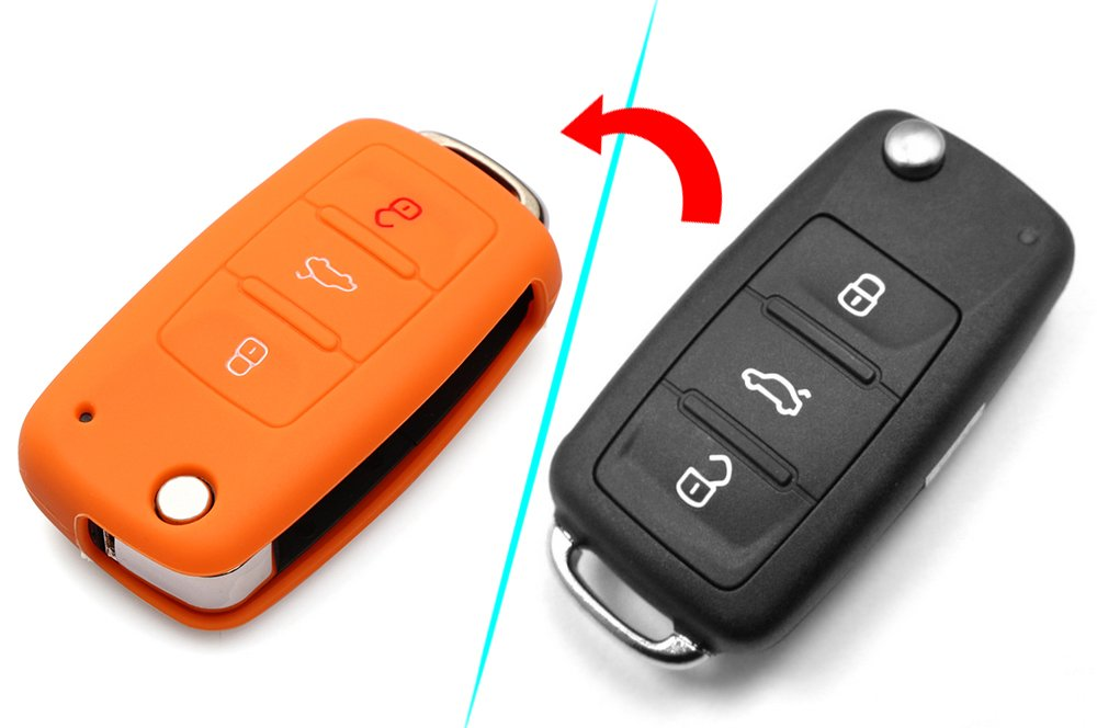 VCiiC Remote Flip Key Silicone Protecting Key Case Cover Fob Holder 3 Buttons for Vw Volkswagen 4332963052