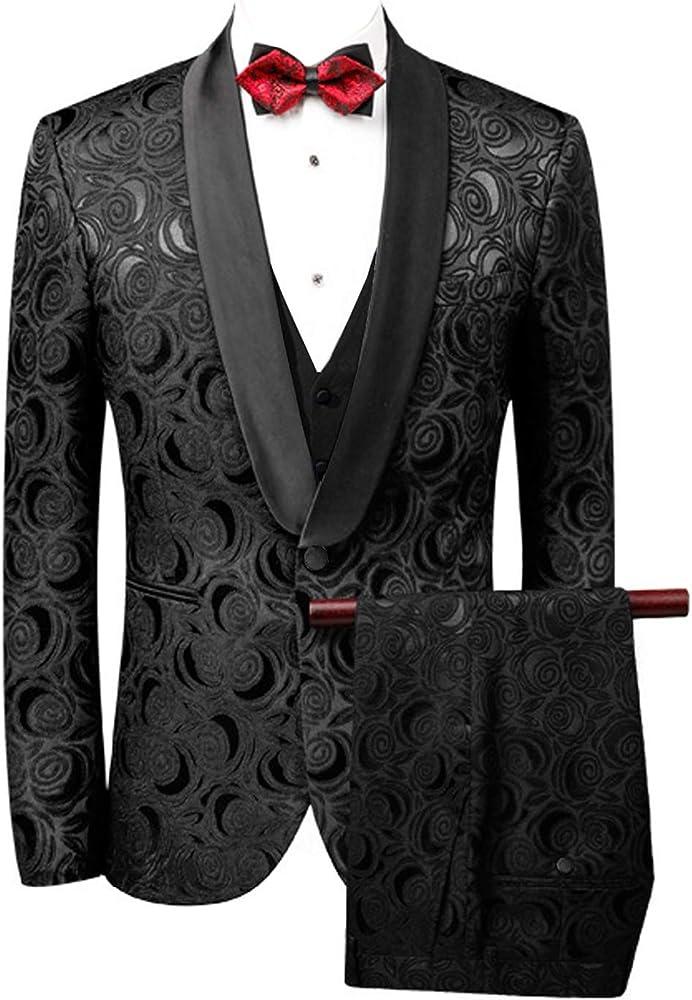 YZHEN Mens 3 Piece Wedding Groom Suit Formal Business Suit