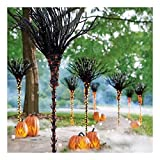 """Set of 3 Lifesize Lighted Black Witch's Broom Pathway Markers Outdoor Halloween Sieze: 18"""" dia. x 48""""H,"""