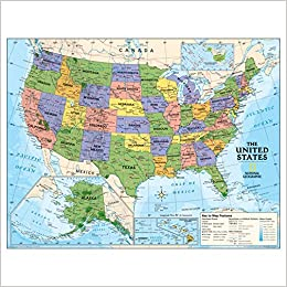 National Geographic Kids Political Usa Education Grades 4 12 Wall - National-geographic-us-map