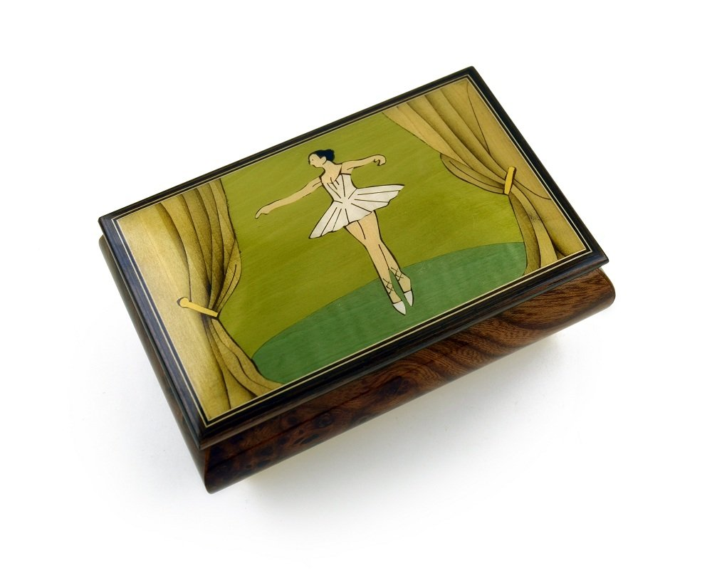 Gorgeous Wood Inlay 30 Note Ballerina Musical Jewelry Box - Many Song Choices
