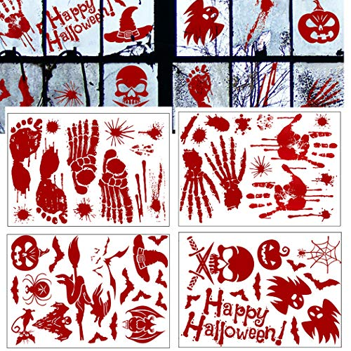 Handprint Footprint Art Halloween (Outgeek Halloween Window Sticker, 52PCS Bloody Handprint Footprint Clings Decals Horror Bathroom Floor Stickers Vampire Zombie Party)