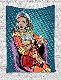 asddcdfdd Astronaut Tapestry, Retro Inspired Space Lady with Purse on a Chair Girl Power Womens Day, Wall Hanging for Bedroom Living Room Dorm, 60 W X 80 L Inches, Petrol Blue Multicolor