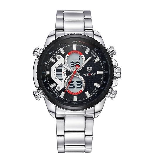 Weide WH3410 - Reloj , correa de acero inoxidable chapado color plateado: Amazon.es: Relojes