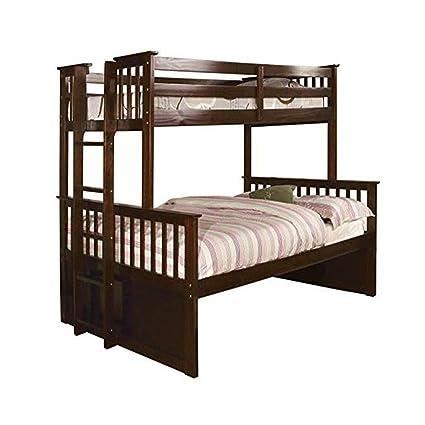 Amazon.com: HDFUF Pammy Twin Over Queen Bunk Bed, Espresso: Kitchen ...