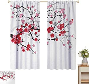 2020 Gardome Pattern Curtains Nature,Japanese Plant Sakura Flower with Abstract Backdrop Art,Dark Brown Dark Coral and Light Pink,Decor Collection Thermal/Room Darkening Window Curtains 60