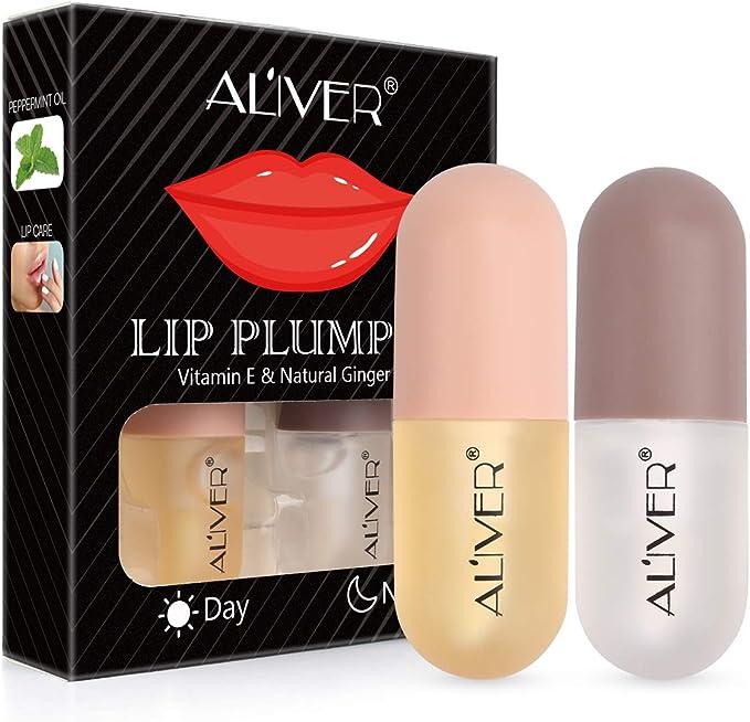 Brillo para labios, Relleno labial natural, juego de rellenos Contiene brillo labial diurno y nocturno - Potenciador de brillo para labios claros para ...
