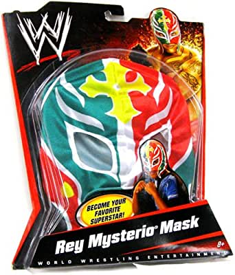WWE Wrestling Rey Mysterio Mask - Green, Red, with Yellow Cross & White Trim
