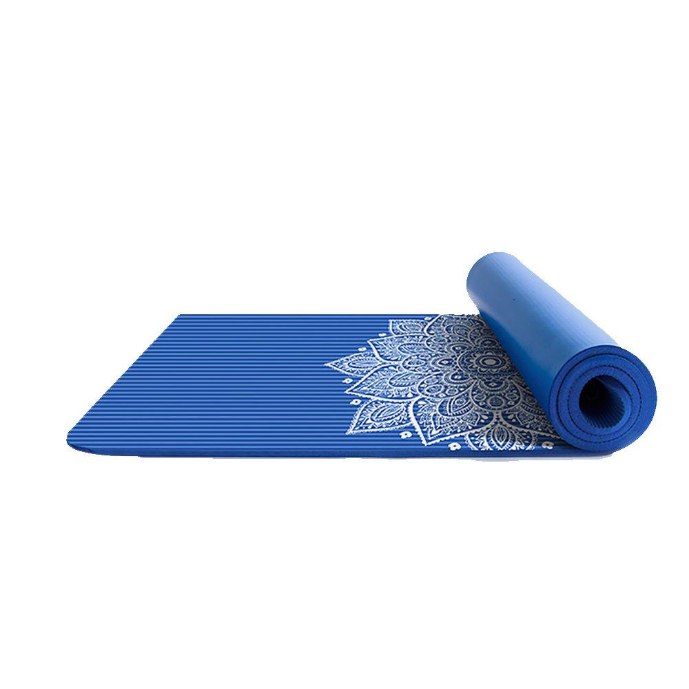 LJJ Yogamatte 10 MM Multifunktionale NBR Rutschfeste Fitness Matte Tanzmatte (183 cm X 61 cm) (Farbe : Blau 80cm)