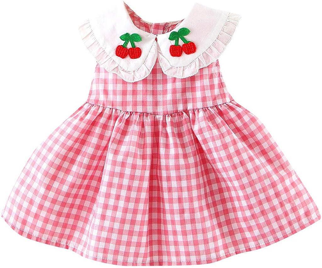 Lonshell Newborn Kids Baby Girl Plaid Embroideried Fruit Ruffled Princess Dress Sundress Sleeveless Doll Collar Plaid Skirt Cherry Dress for 0-18 Months Baby