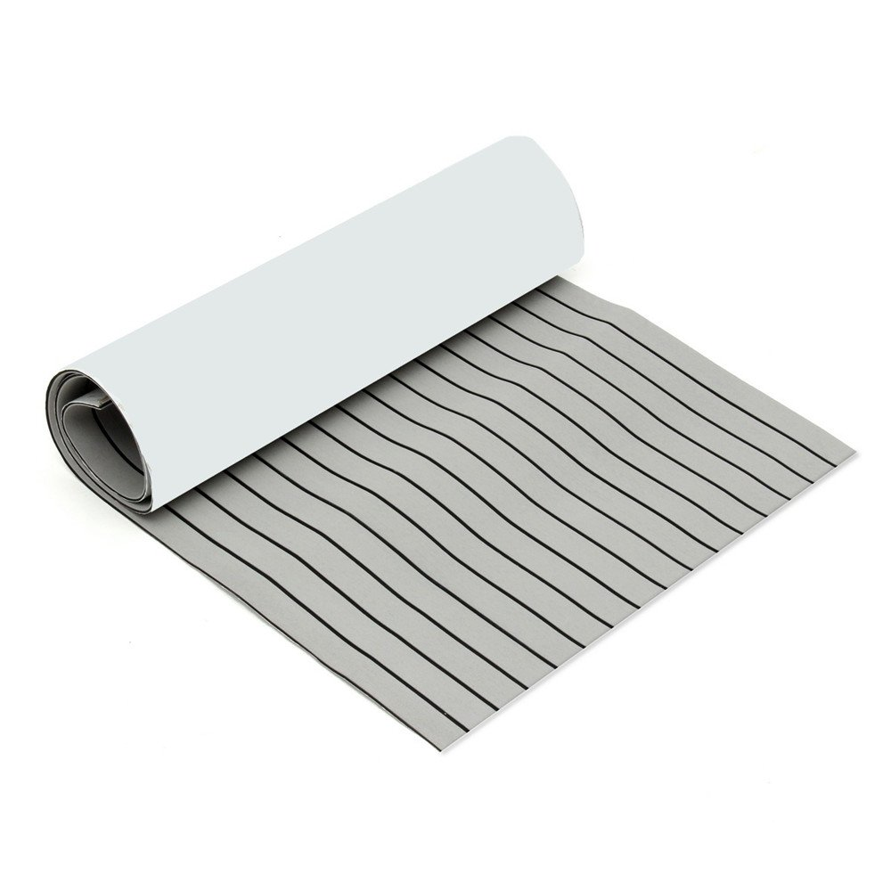CoCocina 900mmx2400mmx5.5mm Light Grey and Black EVA Foam Faux Teak Sheet Boat Yacht Synthetic Teak Decking