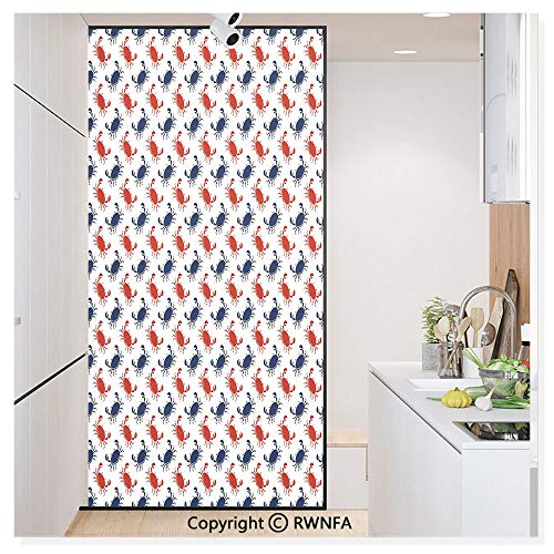 RWN Film Window Films Privacy Glass Sticker Sea Animals Theme Crabs on White Background Vintage Pattern Print Static Decorative Heat Control Anti UV 30In by 59.8In,Blue and Red