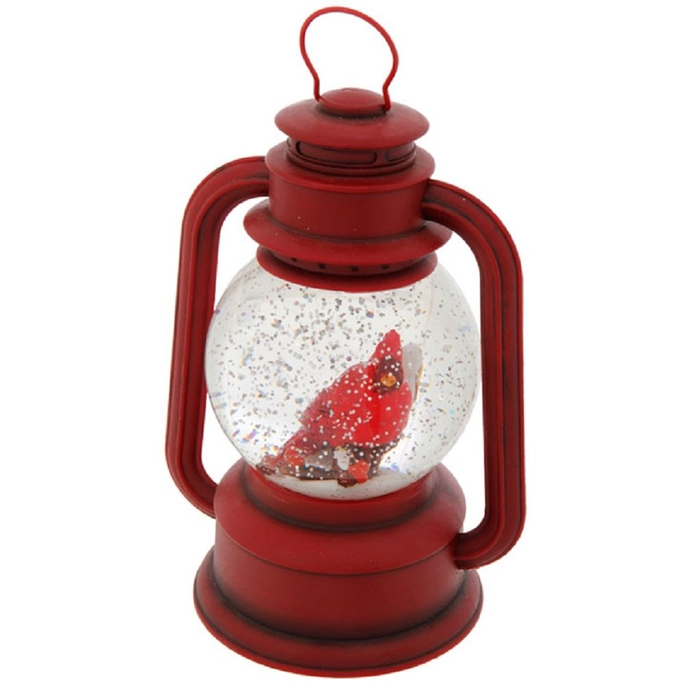 """Raz Imports 9.5"""" Red Lighted Lantern with Cardinal Bird in Continuous Swirling Glitter Snowglobe Decor, 9.5 Inch, Battery Operated"""