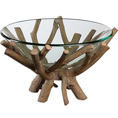 Decorative Clear Glass Bowls.Diva At Home 19 625 Rustic Lodge Style Decorative Clear Glass Bowl With Wooden Base