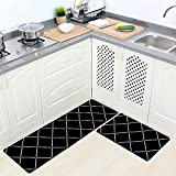 Ukeler Non-Slip Anti-Fatigue Comfort Mat, 2 Piece Soft Waterproof and Oil-proof Kitchen Rug Set, Creative Rubber Backing Doormat Runner Rug Set, 17.7''x29.5''+17.7''x59'', Black Plaid