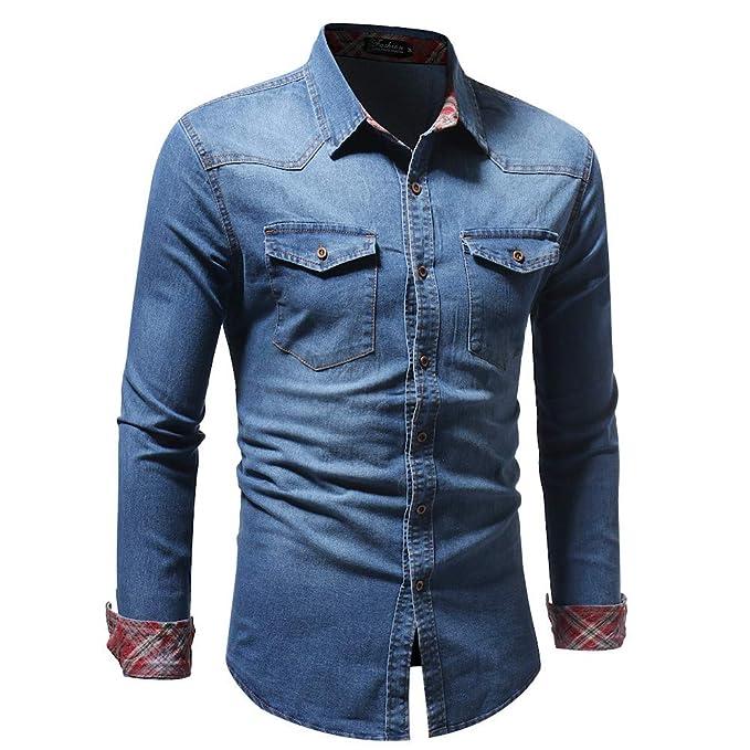 BaZhaHei-Blusa de hombre, Blusa Superior de la Camisetas de la Manga Larga del Dril de algodón de la Vendimia Apenada del Vintage del otoño de los Hombres ...