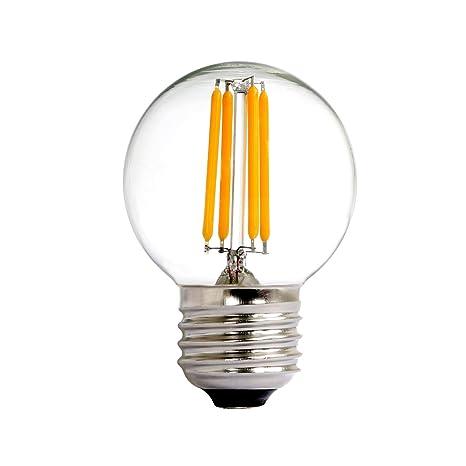 NATIONALMATER G50 4W E27 Globular LED Bombilla Vintage Edison, Bombilla de Filamento, 2700K Blanco