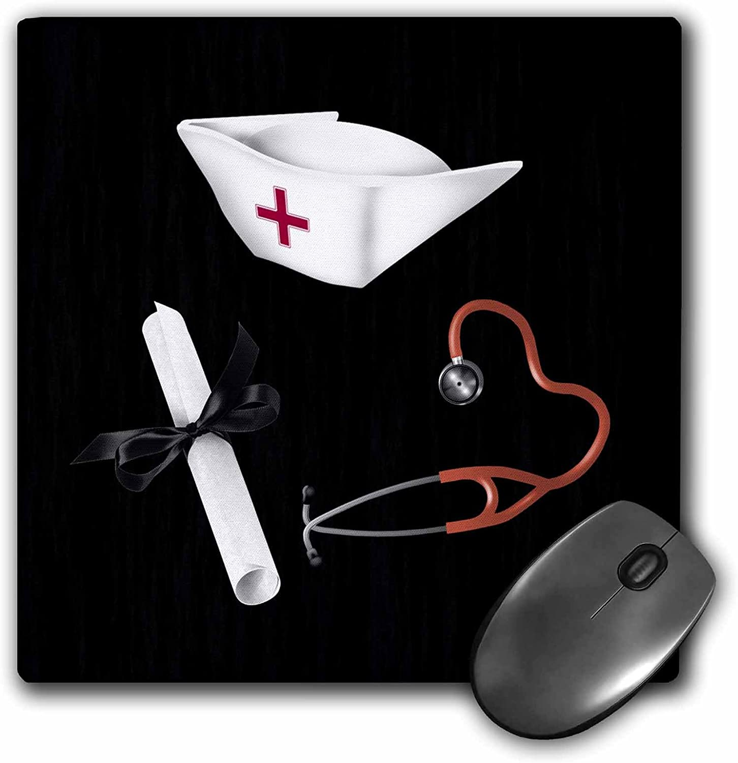 and Stethoscope Diploma 3drose Nurses Cap Red and Black Mouse Pad