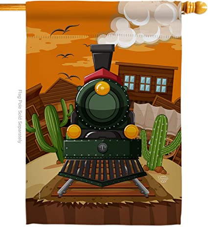 Amazon Com Ornament Collection H192127 P3 Wild West Train Interests Hobbies Impressions Decorative Vertical 28 X 40 House Flag Printed In Usa Multi Color Garden Outdoor