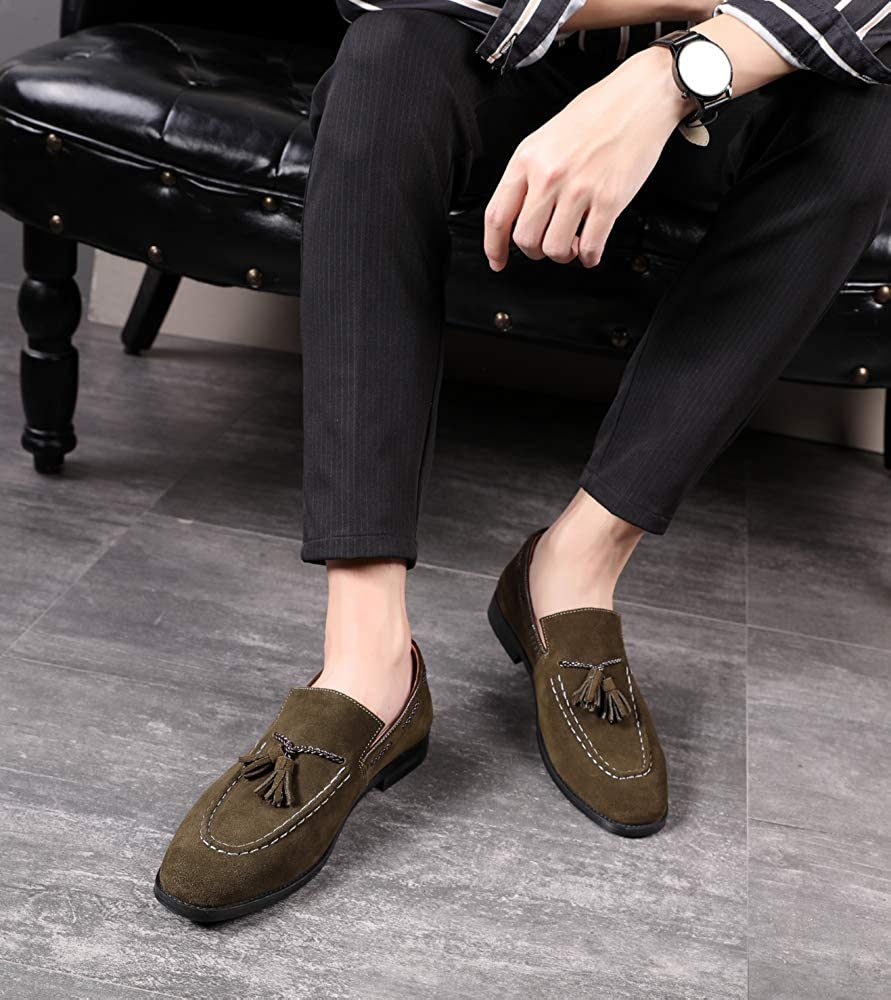 Details about  /Hairstylist Men/'s Tassel Slip on Moccasins Shoes Fashion Suede Wedding Shoes NEW