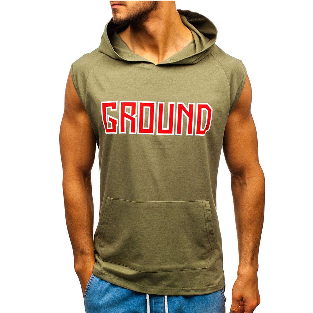 Forthery Mens Gym Hooded Jacket with Pocket Raglan Solid Sleeveless Tank Athletic Slim Fit Lightweight Workout Fitness Tops(Army Green,US Size L = Tag XL)