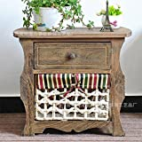 Pastoral style storage cabinet Woven basket storage cabinet Pastoral style storage cabinet Living room Bedroom storage cabinet-A 50x33x44cm(20x13x17)